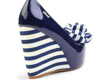 Platform Wedge Shoes Bow Front   Navy Blue or Peach Pink  A15
