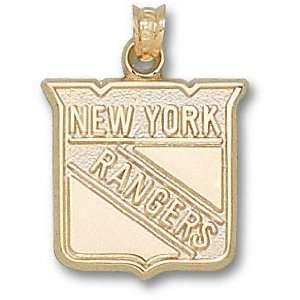 New York Rangers 14K Gold Shield Logo 5/8 Pendant