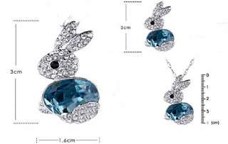 Fashion Cute Rabbit Blue/Red Necklace Sweater Chain Pendant Gift N19