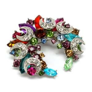 Multi Color Crystal Navette Cresent Brooch Pin Pendant Jewelry