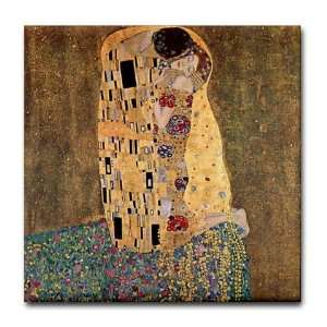 The Kiss by Gustav Klimt Ceramic Art Art Tile Coaster by