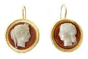 Victorian 18K Gold Carved Hardstone Cameo Earrings