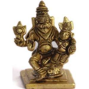 Lord Narasimha with Shakti (Small Sculpture)   Brass