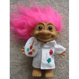 Russ Berrie Artist Troll, with Pink Hair & no hat