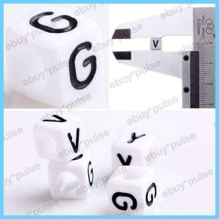 Wholesale 100 White Black Resin Acrylic Cube Alphabet Letter Spacer
