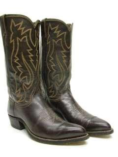 MENS VINTAGE JUSTIN POINTY TOE DARK BROWN COWBOY WESTERN BOOTS SZ 7 D