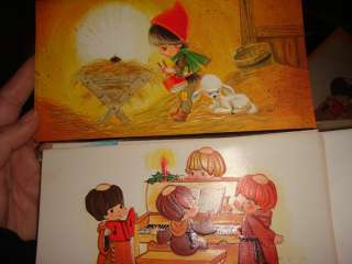 OF 12 VINTAGE CHRISTMAS CARDS~IN BOX~CHILDREN MONKS~ENVELOPES INCLUDED