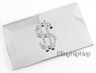 Iced Chrome Hip Hop Bling DOLLAR $ Business Card Holder