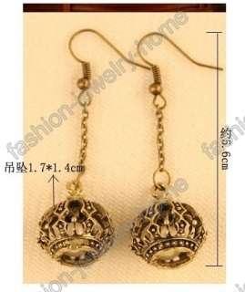 Fashion Rertro Style Crown White Pearl Dangle Earring