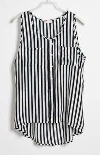 Sexy Womens Chiffon Shirt Stripes TANK TOP Cami Chiffon Sleeveless
