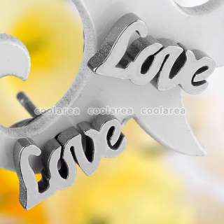2PCS Silver Tone LOVE Letter Stainless Steel Ear Studs Earring Mens