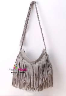 BOHO HIPPIE Faux Suede Fringed Cross body BAG PURSE