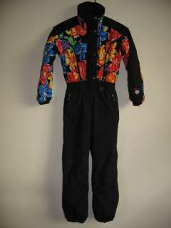 /kids Snow Suit One Piece With Hood Girls Black/Floral Size 8