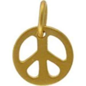 Vermeil Peace Sign 24K Gold Charm Arts, Crafts & Sewing