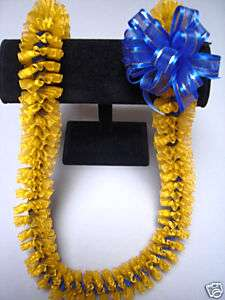 Hawaiian Sheer Ribbon Lei Graduation Gift Gold Blue