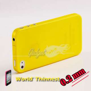 YELLOW EXTREME ULTRA THIN (0.2mm) CASE COVER FOR iPHONE 4 4G
