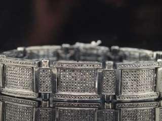 MENS WHITE GOLD FINISH PAVE BLACK 3+ C DIAMOND BRACELET