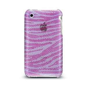 IPHONE 3GS DIAMOND GLITTER PROTECTOR CASE   PURPLE WITH HOT PINK ZEBRA
