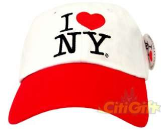 AUTHENTIC I LOVE NY NEW YORK BASEBALL CAP HAT WHITE RED