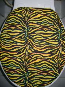 ZEBRA YELLOW & BLACK PRINT Fabric (ELONGATED) Toilet Seat Lid Cover