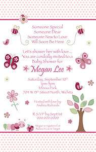 Watch Me Grow Pink Girl Baby Shower Invitations   YOU PRINT  Butterfly