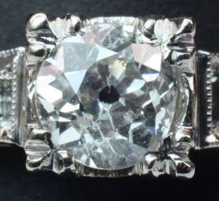 Art Deco Illusion Set Old European Cut Diamond Engagement Ring 14K