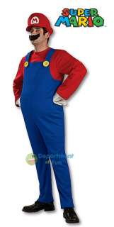 MENS & BOYS SUPER MARIO LUIGI BROS FANCY DRESS COSTUME