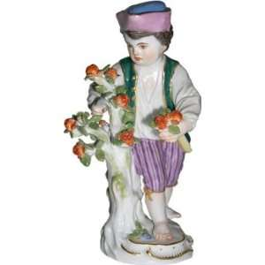 Meissen hand painted Garden Children Sculpture entitled Boy with Rose
