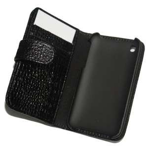 BLACK  Crocodile Leather Wallet Case Cover for iPhone 3