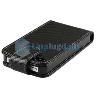 Black Carbon Leather CASE+PRIVACY FILTER+Car+Wall Charger for iPhone 4