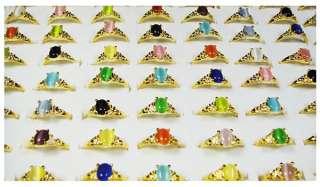 wholesale lots 50pcs Multicolor Malay Jade gold rings