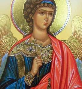 Guardian Angel Gold Russian Wood Icon Picture Plaque