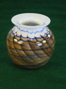 MICHEAL NOUROT CASED RUST & BLUE ART GLASS VASE