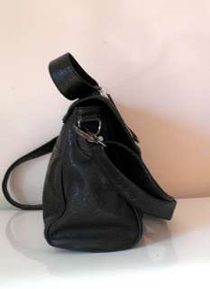 STEVE MADDEN HANDBAG BLACK TEXTURED FAUX LEATHER FLAP MESSENGER