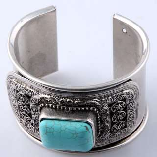 BLACK unisex Tibet silver carved oblong bead wide new adjustable cuff