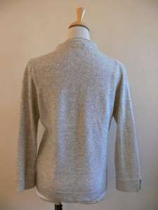 CREW PRETTY GRAY CASHMERE BLEND CARDIGAN SWEATER JACKET M