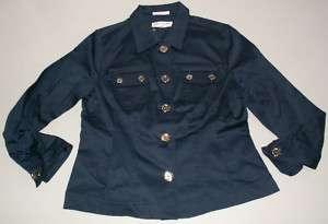 NWT JONES NEW YORK SPORT Navy Jacket Cotton Stretch M L