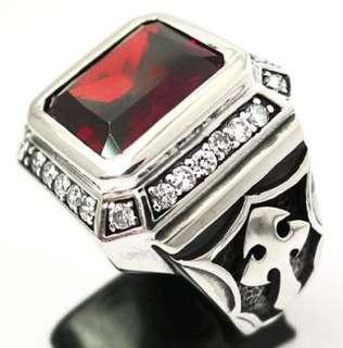 BIG KNIGHT TEMPLAR CROSS RING 11.5 RED RUBY DIAMOND STERLING 925