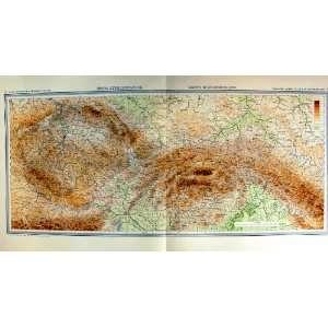1935 Map Czechoslovakia Mapa Hypsometricka Carte