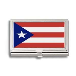 Puerto Rico Rican Flag Business Card Holder Metal Case