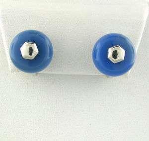 MARINA B 18K WHITE GOLD BLUE GEMSTONE EARRINGS