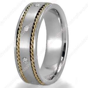 Handmade Diamond Wedding Bands in 14K Gold, 7mm Wide, 0.24