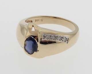 Estate Tanzanite Diamonds Solid 14k Yellow Gold Ring