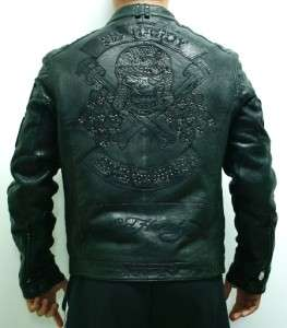 Ed Hardy Christian Audigier Mens Biker Skull Motorcycle Lamb Leather