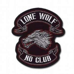 LONE WOLF NO CLUB LARGE BACK Quality Biker Vest Patch