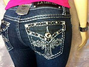 Miss LA Idol SKINNY JEANS ♥ BLING CROSS SILVER STITCH SZ 0 15