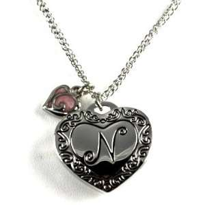 Gorgeous Initial Letter N Heart Locket Necklace Silver