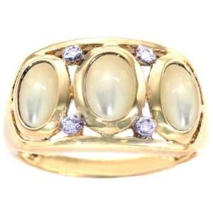 14K Yellow Gold Oval Three Stone Band Ring with Diamonds