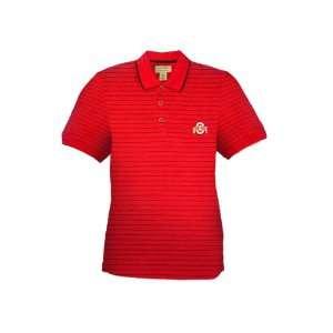 Ohio State Buckeyes Red Half Dome Polo W/Black Stripes Sports