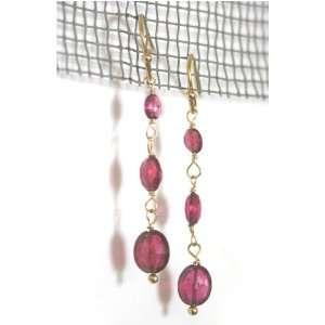 14K Gold Pink Tourmaline Drop Earrings Jewelry